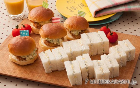 フィッシュカツサンドとしらすとパインのサンドイッチ