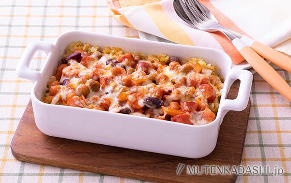 トマト煮ソーセージの簡単ドリア
