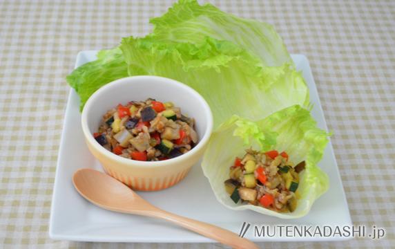 夏野菜のレタス包み