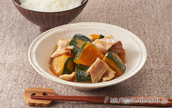 かぼちゃと豚肉のレンジ煮